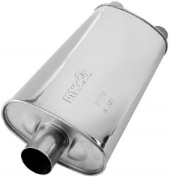 """DynoMax WAL-17273 Ultra Flo™ Stainless Steel Direct Fit Oval Muffler - (3"""" ID, 2x2.5"""" OD, 23"""" x 11"""" x 5.5"""" Body) Small Image"""