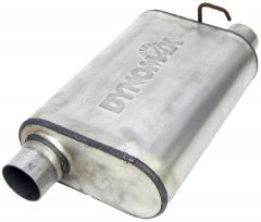 """DynoMax WAL-17568 Ultra Flo™ Welded Stainless Steel Direct Fit Oval Muffler - (2.5"""" ID, 2.5"""" OD, 14"""" x 9.75"""" x 4.5"""" Body) Small Image"""