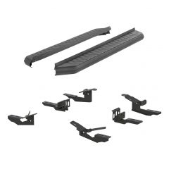 """Aries ARI-2061003 AeroTread™ 5"""" Black Carbide Powder Coated Aluminum Running Boards with 201 Stainless Steel Front Trim & Brackets Small Image"""