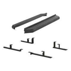 """Aries ARI-2061005 AeroTread™ 5"""" Black Carbide Powder Coated Aluminum Running Boards with 201 Stainless Steel Front Trim & Brackets Small Image"""