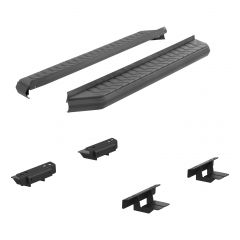 """Aries ARI-2061010 AeroTread™ 5"""" Black Carbide Powder Coated Aluminum Running Boards with 201 Stainless Steel Front Trim & Brackets Small Image"""