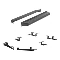 """Aries ARI-2061014 AeroTread™ 5"""" Black Carbide Powder Coated Aluminum Running Boards with 201 Stainless Steel Front Trim & Brackets Small Image"""