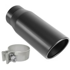 """MagnaFlow MAG-35236 Stainless Steel Single-Wall Round Angle Cut Black Coated Clamp-On Tip - (3"""" ID, 4"""" OD, 12"""" Length) Small Image"""