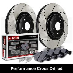 Performance Black Cross Drilled Brake Rotors with Carbon Pads Kit