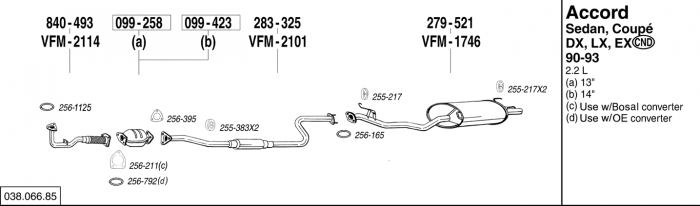 Exhaust Pipe Flange Gasket Bosal 256-395