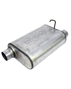 "DynoMax WAL-17567 Ultra Flo™ Welded Stainless Steel Direct Fit Oval Muffler - (2.5"" ID, 2.5"" OD, 14"" x 9.75"" x 4.5"" Body) Small Image"