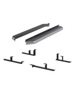 "Aries ARI-2051005 AeroTread™ 5"" Aluminum Running Board with Polished 304 Stainless Steel Front Trim & Brackets Small Image"