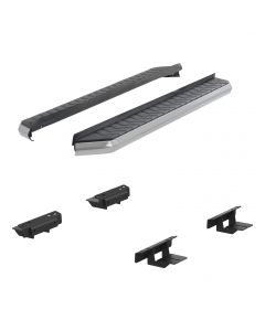 """Aries ARI-2051010 AeroTread™ 5"""" Aluminum Running Board with Polished 304 Stainless Steel Front Trim & Brackets Small Image"""