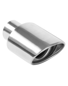 "MagnaFlow MAG-35158 Stainless Steel Double-Wall Oval Resonated Rolled Edge Angle Cut Weld-On Tip - (2.25"" ID, 3.25"" x 4.5"" OD, 7"" Length) Small Image"