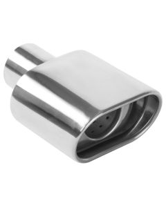"MagnaFlow MAG-35175 Stainless Steel Double-Wall Rolled Edge Oblong Angle Cut Weld-On Tip - (2.25"" ID, 2.75"" x 5.25"" OD, 7.25"" Length) Small Image"