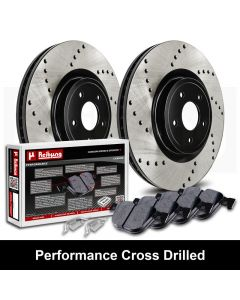 Reibung REI-BRPCRD02004-BC-K Performance Black Cross Drilled Brake Rotors with Carbon Pads Kit Small Image
