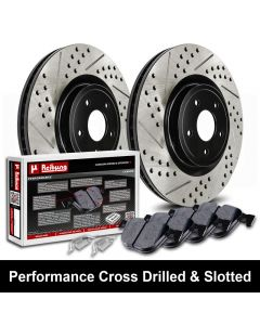 Reibung REI-BRPCRDSTS02004-BC-K Performance Cross Drilled & Slotted Brake Rotors with Carbon Pads Kit Small Image