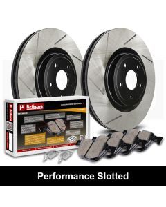 Reibung REI-BRPSTS02004-BC-K Performance Black Straight Slotted Brake Rotors with Ceramic Pads Kit Small Image
